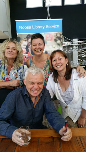 Annie with Graeme Simsion and Noosa Library Service_s Liz and Tracey